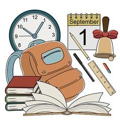 Cartoon style school icons vector image