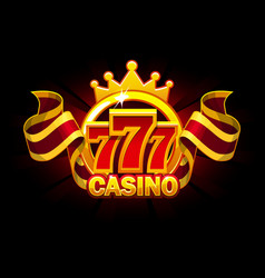 casino banner with 777 and awards ribbon vector image