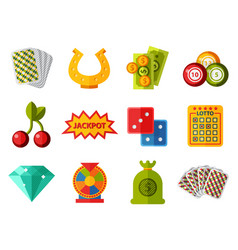 casino game icons poker gambler symbols blackjack vector image