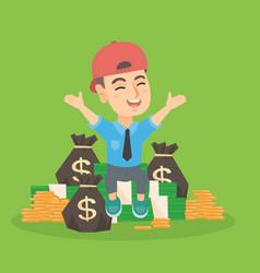 Caucasian boy kid sitting among piles of money vector