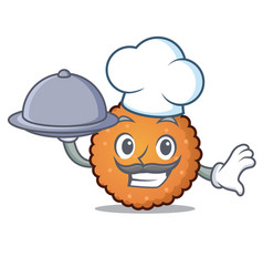 chef with food cookies mascot cartoon style vector image