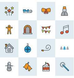 Christmas icons colored line set with bow party vector