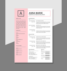 Clean resume template vector