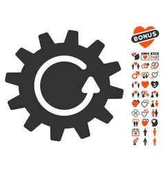 Cogwheel rotation icon with dating bonus vector