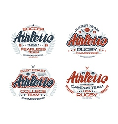 College rugby team emblems athletic vector