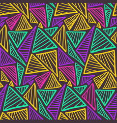 contrast seamless pattern with colorful triangles vector image