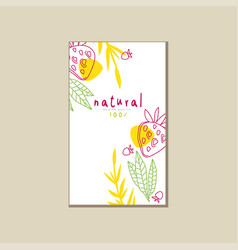 Creative card with natural strawberry and leaves vector