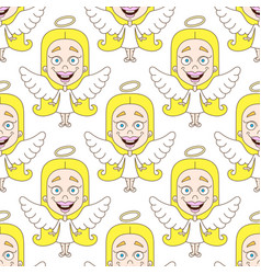 cute angel seamless pattern vector image