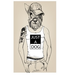 Cute fashion hipster dog vector