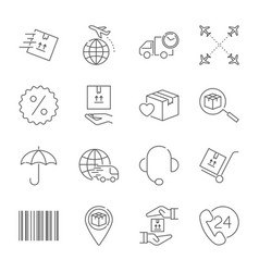 delivery and logistics icons set logistics vector image