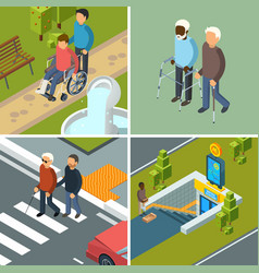 Disability in city urban healthcare invalids vector