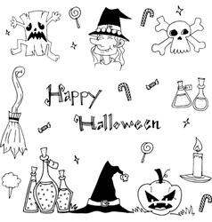 Doodle of Happy halloween flat vector image