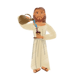 drawing jesus christ miracle water wine design vector image