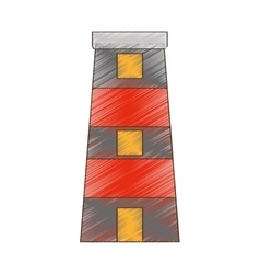 Drawing lighthouse building tower security vector