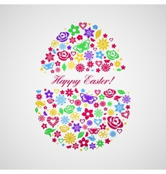 Easter egg consisting of multicolored flowers vector