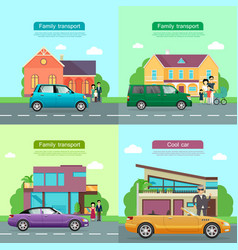 Family transport collection of automobile icons vector