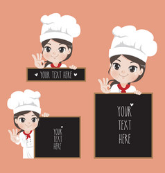 Female chef holds a signage vector