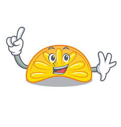 Finger orange jelly candy mascot cartoon vector