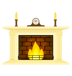 fireplace with clock and candles isolated vector image