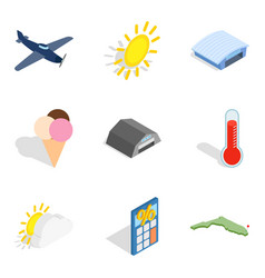 Fly away icons set isometric style vector