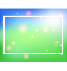 Frame template design with blue and green lights vector