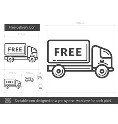 Free delivery line icon vector