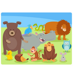 funny cartoon animal characters group vector image