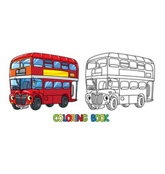 Funny small london bus with eyes coloring book vector
