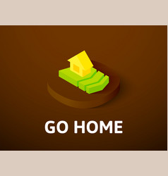 go home isometric icon isolated on color vector image