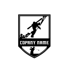 golf and ski badge vector image