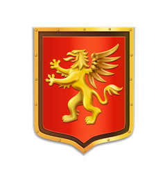 griffin heraldry coat of arms golden shield vector image