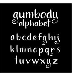 Gumbody alphabet typography vector
