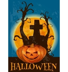 Halloween poster with traditional pumpkin lantern vector