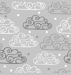 hand-drawn seamless pattern with cute clouds vector image