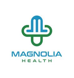 health logo initials m vector image