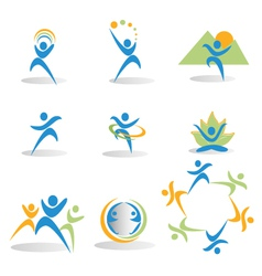Health nature yoga business social icons logos vector
