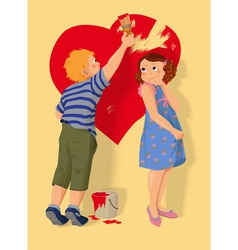 Heart shape boy and girl in love vector