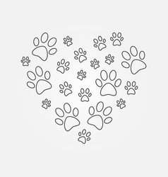 Heart with dog paw prints outline vector