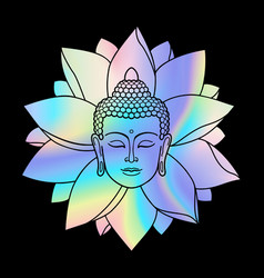 Holographic buddha head and lotus vector
