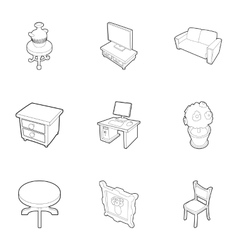 Home environment icons set outline style vector