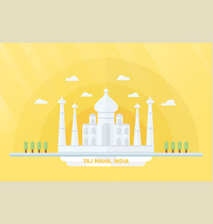India landmarks for travelling with taj mahal and vector