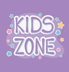 kids zone font creativity stars purple background vector image
