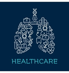 Lungs symbol created of medical healthcare icons vector image