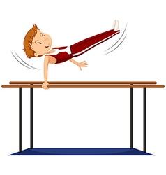 Man doing gymnastics on parallel bars vector