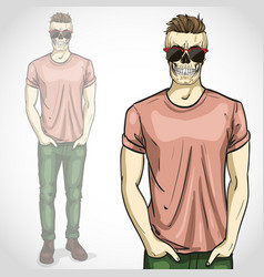 man with skull with sunglasses and vector image