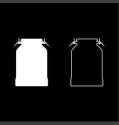 milk can container icon set white color flat vector image
