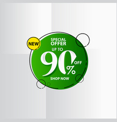 New discount label up to 90 special offer shop vector
