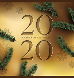 new year 2020 gold cutout card and 3d pine tree vector image