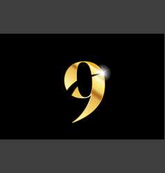 Number 9 nine gold golden metal metallic logo vector
