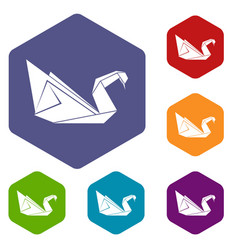 Origami swan icons hexahedron vector